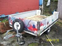 Light trailer, 6ftx4ft with alloy sides,jockey wheel& sparewheel.