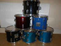 "BARGAIN 6 DRUMS COMPLETE WITH 12"" SKINS"
