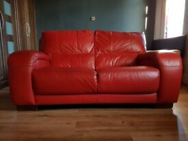 Dfs sofa, 2 seater, red leather