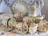 FAB VINTAGE PINK AND GOLD TEA AND COFFEE SET ~ 33 PIECES PLUS TEAPOT