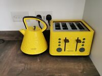 Yellow Morphy Richards Prism Kettle and Toaster