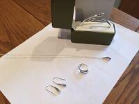 Brand new Silver chain, pendant, bracelet, earrings and ring