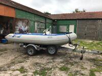 Menai 3.9 metre rib, 25 hp Yamaha 2 stroke 25hp, alloy road trailer, ready to go