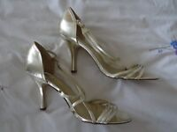 Silvery/gold strappy high heel shoes, matt finish size 7.5 excellent condition
