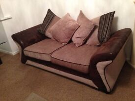 Sofa DFS leather & Fabric 3 seaters + 2 seaters