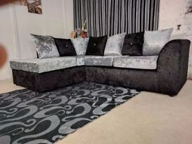 🔥Black Silver & Champagne🔥 New Italian Double Padded Dylan Crushed Velvet Corner Sofa Or 3+2 Sofa