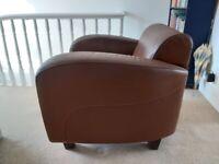 Art deco club chair - retro/vintage leather armchair