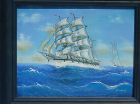 Stunning Framed Painting Old Sailing Ship Signed Art Boat Clipper Nautical Maritime Picture