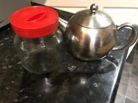 Free metal teapot and glass jar