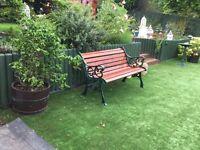 "Wooden Garden Bench with Wrought Iron Ends Measurements H30.5""/77cm D25/63cm L49""/124"