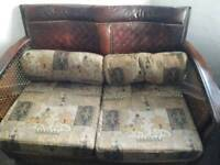 ANTIQUE BERGERE LEATHER & RATTAN SUITE SOFA/2 CHAIRS