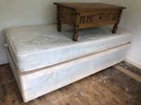 Single bed with divan base and mattress