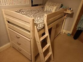 Quality Thuka Mid Sleeper bed with desk, drawers, shelves