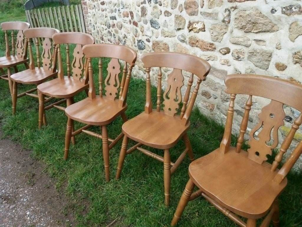 6 lovely pine chairs including two carvers | in Exeter, Devon | Gumtree