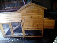 Hen chicken coop house & nest box with run opening roofs