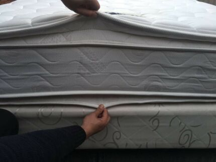 REE DELIVERY 2sides pillow top Queen Mattress&Base in very good cond!