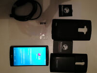 LG G4 Black Leather UK Sim-Free Phone plus Extra Case and Power Bear Replacement Battery