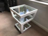 Dwell - 2 x Triple level gloss side tables (white)