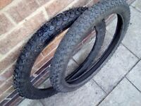 Two off road/trials/motocross motorcycle tyres 2.75x21 4 ply rated