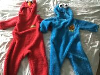 Elmo and Cookie Monster fancy dress costume