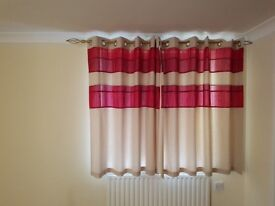 Cream and Red Tonal, Lined Curtains 117cm x 137cm