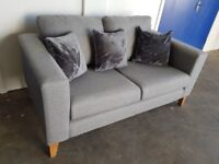 NEXT GREY FABRIC 2 SEATER SOFA / SETTEE / WOODEN LEGS INCLUDING CUSHIONS DELIVERY AVAILABLE