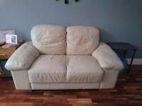 2x cream leather sofas - FREE!!