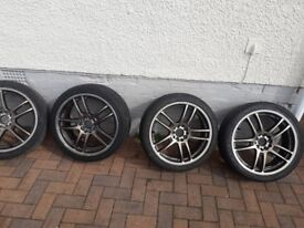 """For sale 17"""" lenso samurai super light 5 stud multifit allloy wheels and tyres £200"""