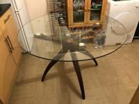 Quality Serene Islington Round Dining Table - Walnut and Glass Hardly Used Delivery Possible