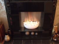 Next opus black gloss electric fire suite