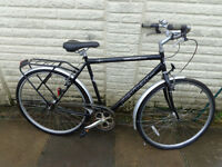 mens reflex 23in hybrid single speed bike with new lights, lock, ready to ride free delivery