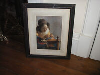 Large framed print of The Lace Maker by Vermeer