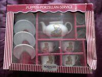 Boxed Roehler Teddy bear design doll/childs tea set.