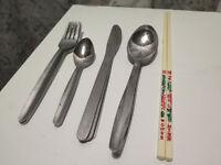 Wilko Everyday Value Forks, Spoons, Knives & Dessert Spoons Cutlery Set 16pc & 1 pair of Chopsticks