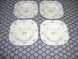 Shelley England Charm 13752 Bone China, Set of 4 Dessert Plates in a Pretty Blue with Gold Edging