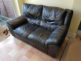 Black Leather Sofa Good condition FREE