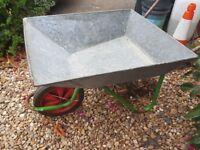 Vintage Galvernised Wheelbarrow. Garden Planter etc