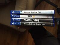 PS4 games uncharted, watch dogs, fifa, killzone