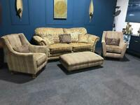 Stunning suite purple/grey and gold 3 seater sofa 2 armchairs and large pouffe