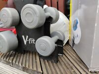 V FIT 5 Dumbbells set Weights Tower Triangle 2 of 4.5, 2 of 2.3, 1 of 1.1kg