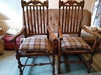 Pair of Antique French country farmhouse oak chairs