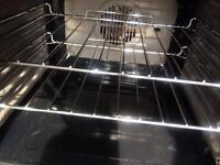 Black Hotpoint 60cm ceramic hub electric cooker grill & double fan oven good condition with gu