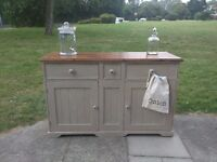 Vintage rustic farmhouse dresser/kitchen cupboard/sideboard. Distressed shabby chic. Local delivery.