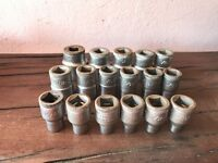 Gedore D19 Vanadium sockets - 17 x Imperial AF sizes, mostly never used
