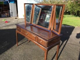 Vintage dresser, 3 drawers, dark wood with mirrors