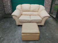 Leather 2 seater sofa settee with footstool in good condition