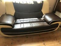 Faux leather sofa brown and cream vgc