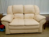 2 seater cream leather setter for sale