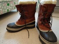 Original men's Sorel Caribou waterproof snow boots for winter thermal size UK 10 tan leather