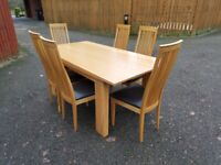 Solid Oak Table 180cm & 6 High Back Dining Chairs FREE DELIVERY 5027